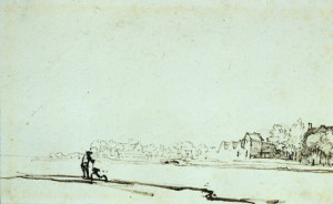 Rembrandt Harmensz van Rijn - Widok znad rzeki Amstel w Amsterdamie - rysunek piórkiem z ok. 1640/41r.