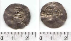 Denar Mieszka II bity za panowania Bolesława Chrobrego (992-1025) po 1013 r.