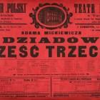 """Adama Mickiewicza, """"Dziadów część trzecia"""", Teatr Polski w Warszawie, 14 października 1915: afisz, jęz. niem., pol."""