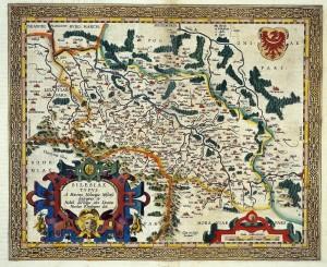 Mapa Śląska Abrahama Orteliusa, przeróbka opracowania kartograficznego M. Helwiga Antwerpia 1603