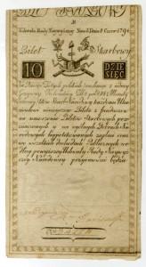 Banknot o nominale 10 zł z 8 czerwca 1794 r.