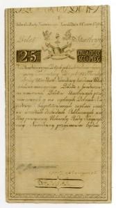 Banknot o nominale 25 zł z 8 czerwca 1794 r.