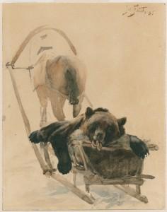 Julian Fałat (1853-1929), Upolowany niedźwiedź na saniach, 1886. Papier, akwarela, tusz; 29 x 22,8. Nr inw.: I.r.p 1017