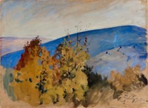 Julian Fałat (1853-1929), Okolice Bystrej, 1917. Papier naklejony na karton, gwasz, pastel; 55 x 74,5. Nr inw.: I.o. 130