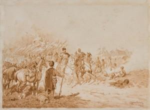 Juliusz Kossak (1824-1899), Fredro pod Smoleńskiem w 1633 roku, 1884 Papier z filigranem, akwarela w kolorze sepii, ramka naszkicowana ołówkiem; 42,3 x 57,2 Nr inw.: I.r.p. 1022