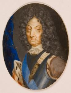 Miniaturzysta francuski, Portret Wielkiego Kondeusza?, 1 poł. XVIII w. Płytka kościana, akwarela, gwasz; 5,1 x 3,9 (owal) Nr inw.: I.m. 301