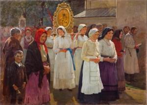 Antoni Piotrowski (1853-1924), Procesja, 1918 Płótno, olej; 63 x 88 Nr inw.: I.o. 141