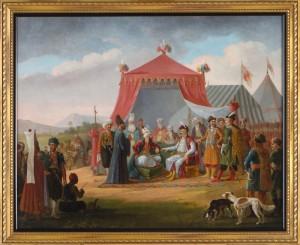 January Suchodolski (1797-1875), Marszałek konfederacji barskiej Michał Hieronim Krasiński przyjmuje dostojnika tureckiego. Płótno, olej; 64,5 x 80,5 Nr inw.: I.o. 145