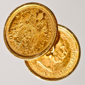 Spinki do mankietu wykonane z dwóch monet 10-koronowych z 1912 r.