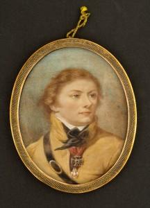 Miniaturzysta polski, Portret Tadeusza Kościuszki w sukmanie krakowskiej, po 1829. Płytka kościana, gwasz, akwarela; 8,3 x 6,7 (owal). Nr inw.: I.m. 306