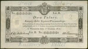 Bilet kasowy – 2 talary z 1 grudnia 1810 r.