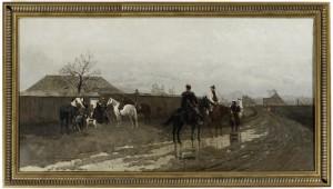 Antoni Piotrowski (1853-1924), Scena z powstania 1863 roku, 1881 Płótno, olej; 55 x 105,5 Nr inw.: I.o. 140