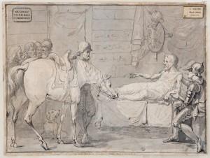 Franciszek Smuglewicz (1745-1807), Śmierć Stefana Czarnieckiego, po 1785 Papier, tusz, pióro, pędzel, lawowanie; 27,1 x 35,9 Nr inw.: I.r.p. 1037