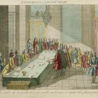 Podpisanie elekcji Stanisława Augusta Poniatowskiego w Zamku Królewskim w Warszawie w 1764. Wydał Andre Basset Miedzioryt, akwaforta, kolorowany akwarelą