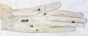 """""""Rozważna…"""" – plan Londynu na damskiej rękawiczce, XIX w."""