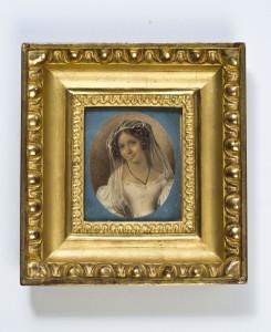 NN miniaturzysta,  Portret Salomei Słowackiej (miniatura). Gwasz na papierze, wym.: 8,4 x 7,1 cm