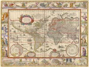 Świat: Willem Janszoon Blaeu, pocz. XVII wieku.
