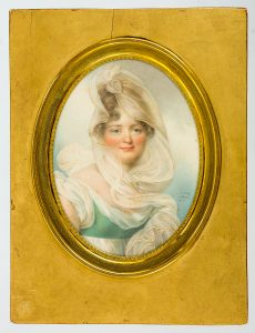 "Jean Baptiste Isabey (1767-1855), ""Ludwika z Rzewuskich Lanckorońska (1774-1839)"", 1814, akwarela na papierze"