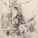 Giambattista Tiepolo Pulcinello w rozmowie z dwoma magami akwaforta z 1775 r.
