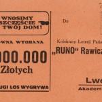"""Los Kolektury Loterii Państwowej """"Runo"""" Rawicz i Ska we Lwowie"""