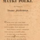 Do Matki Polki - wiersz Adama Mickiewicza, tajny druk ossoliński, Lwów 1833 r.