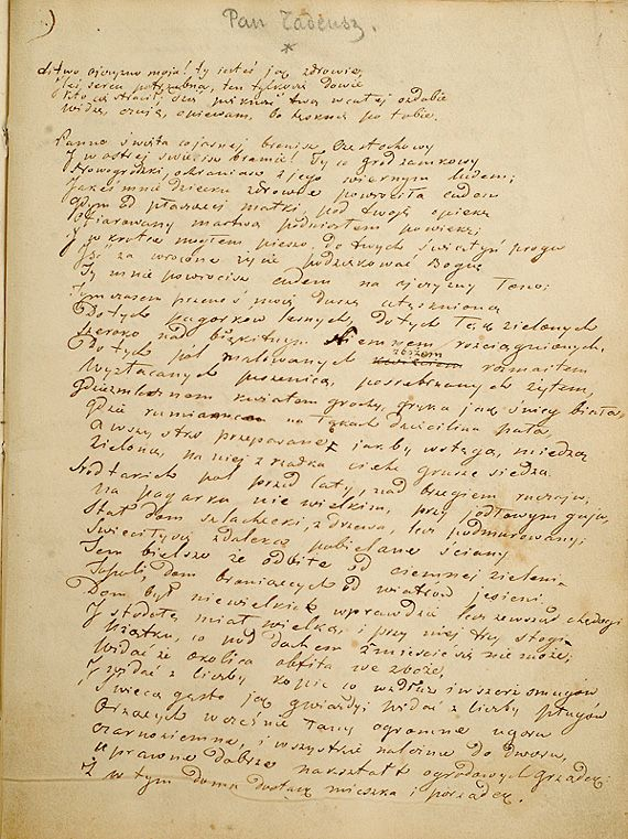 Adam Mickiewicz Pan Tadeusz Inwokacja 1832 1834 R