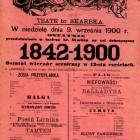 Ostatni wieczór sceniczny w Teatrze hr. Skarbka 9 września 1900 r.: afisz