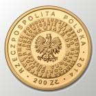 Złota moneta wybita z okazji 150 rocznicy urodzin Stefana Żeromskiego, 2015