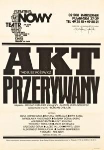 Akt przerywany, reżyseria Bohdan Cybulski, Teatr Nowy w Warszawie, 1984 r. (afisz)