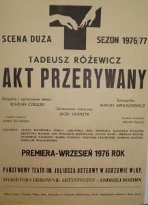 Akt przerywany, reżyseria Bohdan Cybulski, Państwowy Teatr im. Juliusza Osterwy w Gorzowie Wielkopolskim, 1976 r. (afisz)