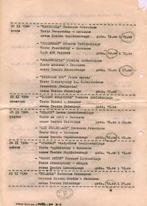 Druga strona ulotki z repertuarem XXIV Festiwalu Polskich Sztuk Współczesnych we Wrocławiu, 1984 r.
