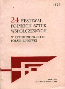 Okładka informatora 24 Festiwalu Polskich Sztuk Współczesnych, Wrocław 1984 r.