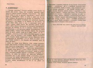 Omówienie sztuki Tadeusza Różewicza pt. Kartoteka, w reżyserii Michała Ratyńskiego (Teatr Powszechny w Warszawie), zamieszczone w informatorze 24 Festiwalu Polskich Sztuk Współczesnych, Wrocław 1984 r.