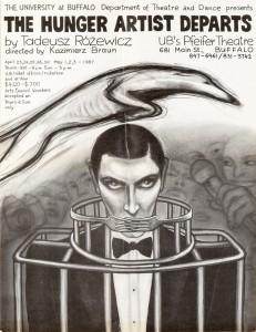 The Hunger Artist Departs (Odejście głodomora), reżyseria Kazimierz Braun, UB's Pfeifer Theatre, aut. plakatu K. Jachniewicz, 1987 r.