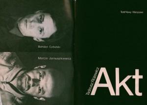 Okładka programu [od lewej: strona czwarta i pierwsza] sztuki pt. Akt przerywany T. Różewicza, w reżyserii Bohdana Cybulskiego, Teatr Nowy w Warszawie, 1984 r.