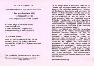 Obsada aktorska w informatorze sztuki pt. Der Unterbrochene Akt (Akt przerywany) T. Różewicza, w reżyserii Rudi Müllera, Theater Forum Kreuzburg, 1997 r.