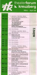 Actus Interruptus (Der Unterbrochene Akt, Akt przerywany) w reżyserii Rudi Müllera, na ulotce z repertuarem teatru Forum z Berlina-Kreuzberg, 1998 r. [ulotka w formie harmonijki]