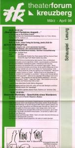 Krótki opis sztuki pt. Actus Interruptus (Der Unterbrochene Akt, Akt przerywany), w reżyserii Rudi Müllera, zamieszczony na ulotce z repertuarem teatru Forum z Berlina-Kreuzberg, 1998 r. [ulotka w formie harmonijki]