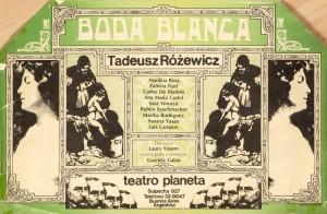 Boda Blanca (Białe małżeństwo), reżyseria Laura Yusem, Teatro Planeta Buenos Aires Argentina, aut. plakatu: Amengual, Fernández, [1981] r.