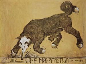 Białe małżeństwo, reżyseria Tadeusz Minc, Teatr Mały w Warszawie (scena Teatru Narodowego), aut. plakatu: Franciszek Starowieyski, 1978 r.