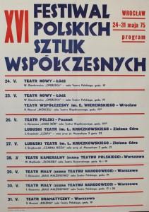 Repertuar XVI Festiwalu Polskich Sztuk Współczesnych, Wrocław 1975 r. (afisz)