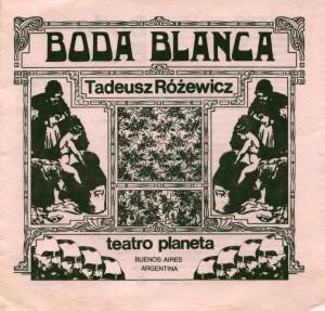 Okładka informatora Teatro Planeta do sztuki pt. Boda Blanca (Białe małżeństwo), w reżyserii Laury Yusem, wydanego w ramach 5. Międzynarodowego Festiwalu Teatru (FIT) w Caracas, 1981 r.
