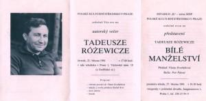 Zaproszenie na wieczór autorski Tadeusza Różewicza oraz przedstawienie sztuki pt. Białe małżeństwo w wykonaniu teatru K (reżyseria Petr Palouš), Praga 1991 r.