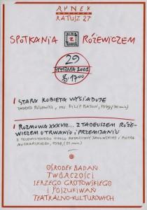 Spotkania z Różewiczem, Ośrodek Badań Twórczości Jerzego Grotowskiego, 2001 r.