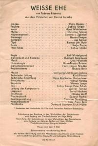 Ulotka z obsadą sztuki Weisse Ehe (Białe małżeństwo), Berlin 1981 r.