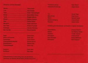 Informator z obsadą aktorską do sztuki T. Różewicza pt. Weisse Ehe (Białe małżeństwo), w reżyserii Geralda Glutha, Theater Junge Generation, 1993 r.