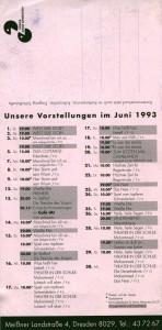 Ulotka informująca o premierze Weisse Ehe (Białe małżeństwo) Tadeusza Różewicza (reżyseria Gerald Gluth), repertuar Theater Junge Generation, 1993 r. (rewers)