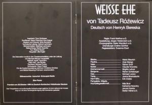 Obsada aktorska w programie do sztuki T. Różewicza pt. Weiße Ehe (Białe małżeństwo), w reżyserii Franka Matthusa, Deutsch-Sorbisches Volkstheater Bautzen/Němsko-Serbske Ludowe Dźiwadło Budyšin, 1995 r.