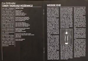 Program do sztuki T. Różewicza pt. Weiße Ehe (Białe małżeństwo), w reżyserii Franka Matthusa, Deutsch-Sorbisches Volkstheater Bautzen/Němsko-Serbske Ludowe Dźiwadło Budyšin, 1995 r.