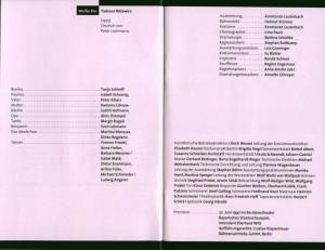 Obsada aktorska w programie do sztuki pt. Weiße Ehe (Białe małżeństwo) Tadeusza Różewicza, w inscenizacji Konstanze Lauterbacha, Residenztheater Bayerisches Staatsschauspiel, 1997 r.